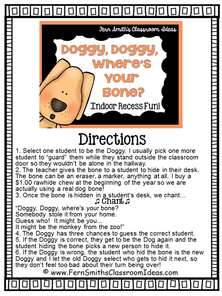 Indoor Recess ~ Doggie, Doggie, Where's Your Bone Directions #Free Printable #FernSmithsClassroomIdeas