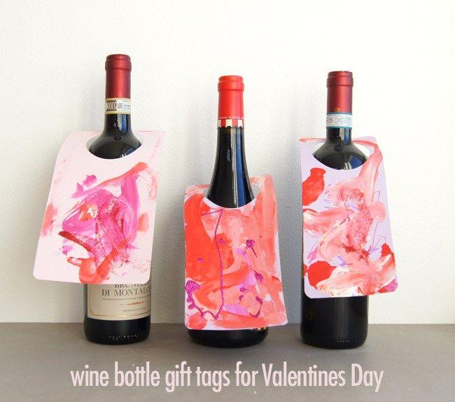 Mini Piccolini - DIY Wine Bottle (Process Art) Gift Tags for Valentines Day Teacher Gift