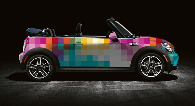 multi colour mini cooper...would so love to drive around in this ;)