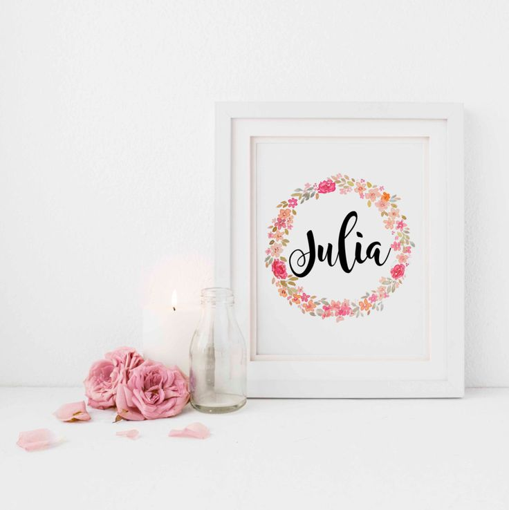Floral Custom Name Nursery Poster by NatureWhisper on Etsy
