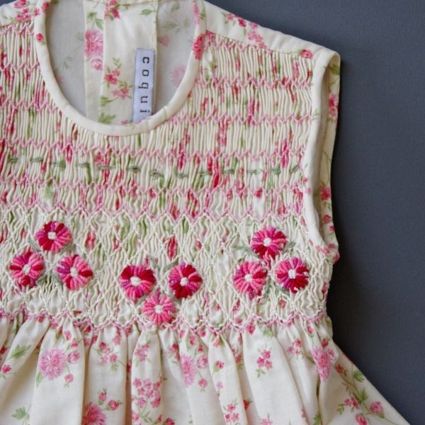 Spanish Smocked Dress. Check out our smocking plates and floss online. www.farmhousefabrics.com