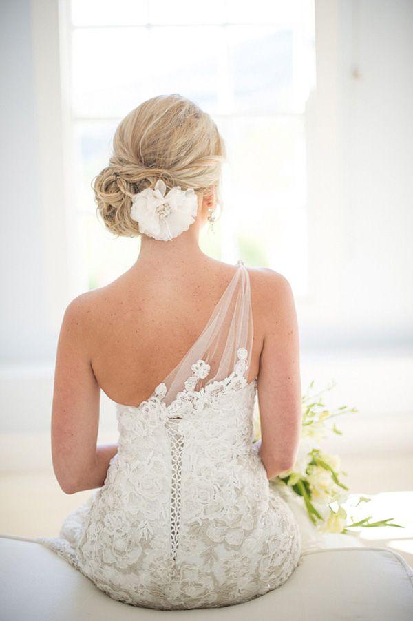 : Wedding Dressses, Hair Flowers, Wedding Hair, Wedding Dresses, Napkins, One Shoulder, Bridal Gowns, Hair Style, The Dresses