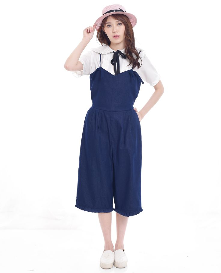 $22. Shop cute denim jumpsuit with adjustable spaghetti straps and bow, ruffle detail. Jual jumpsuit denim lucu kawaii dengan tali, pita, dan detail ruffle. #dungaree #jumpsuit #overalls #asian #fashion #style #preppy #look #classy