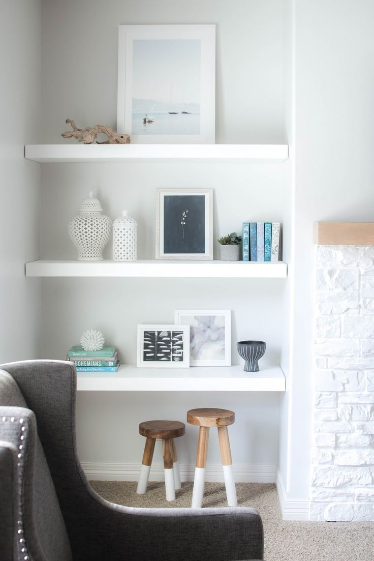Styling floating shelves with Minted Art & neutral accessories via Mandy & Such blog