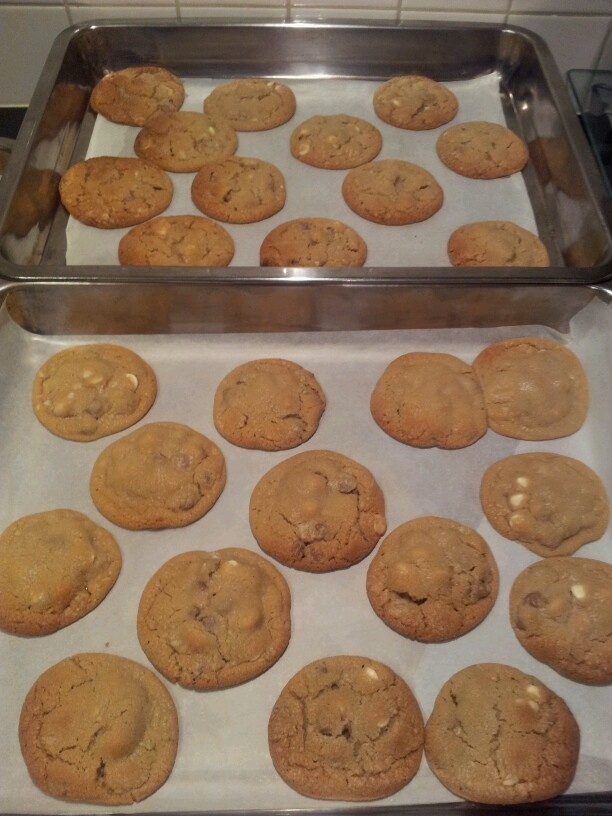 Cookies mmm with milk/white & caramel choc chips and maccadamia nuts.