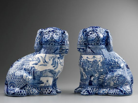Stephen Bowers - Adelaide Jam Factory, Pair of blue and white china dogs