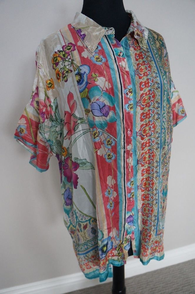 0a09d4e12ad NEW Johnny Was BOHO Silk Floral Print Ajamite Button Down Tunic Blouse Top  S #JohnnyWas #Top #Any