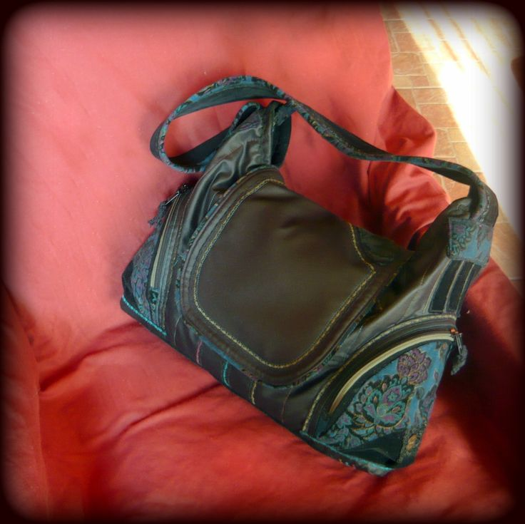 Handmade by Judy Majoros -Black hobo bag-Recycled bag.