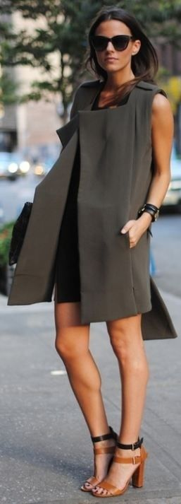 casual chic.: Shoes, Street Fashion, Long Vest, Street Style, Dresses, Capes Cod Collegiate, Fashion Bloggers, Coats, Chunky Heels
