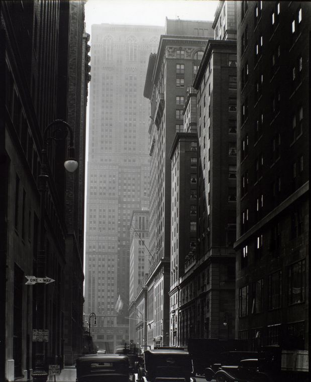 Berenice Abott, Vanderbilt, From E. 46th Street, Manhattan. (1935-1938, printed 1935-ca. 1990). From a collection of 300+ of her pictures in the NY Public Library collections, that you can now view at leasure. Berenice Abbott was the heir to Eugene Atget in more than one way. Not only do we owe her Atget's great portrait (see elsewhere in my boards) and did she take care of Atget's work, but she also documented evolving New York in the way that Atget had documented disappearing Paris.