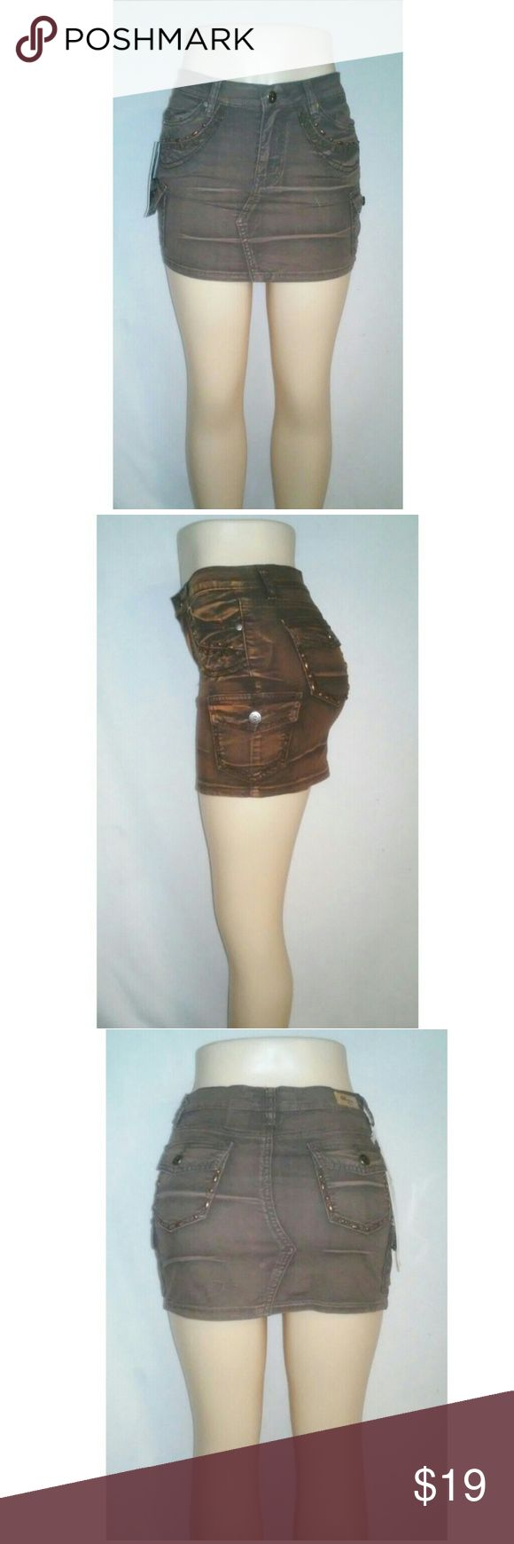 Jeweled Encrusted Jean Mini Skirt Cotton and Spandex Material Skirts Mini