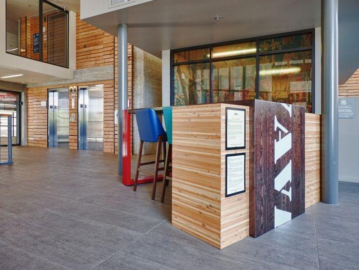 Windfall Lumber Leasing Desk, Engineered Panel and Douglas fir Waterfall Table, Avalon Apartments, University District, Seattle WA