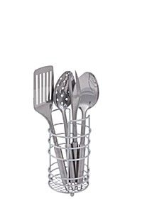 5 PIECE STAINLESS STEEL UTENSIL AND HOLDER