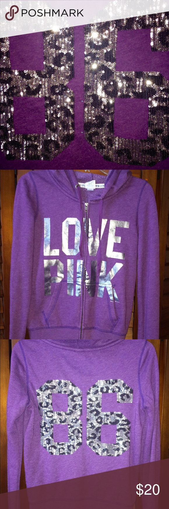 Victoria's Secret XS Purple Hoodie Bling 86 Zip up Victoria's Secret XS Purple Hoodie Bling 86 Zip up. Clean and ready to ship. Victoria's Secret Sweaters