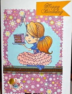 This is a birthday card featuring a Tickled Pink stamp colored with Copic markers.