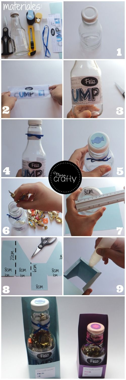 Botellas recicladas con dulces para Cumpleaños