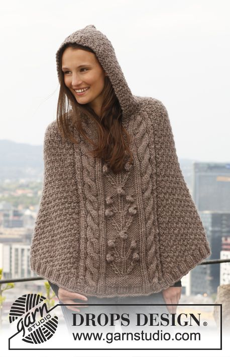 """Free pattern: Knitted DROPS poncho with cables and textured pattern in """"Eskimo"""". Size: S - XXXL."""