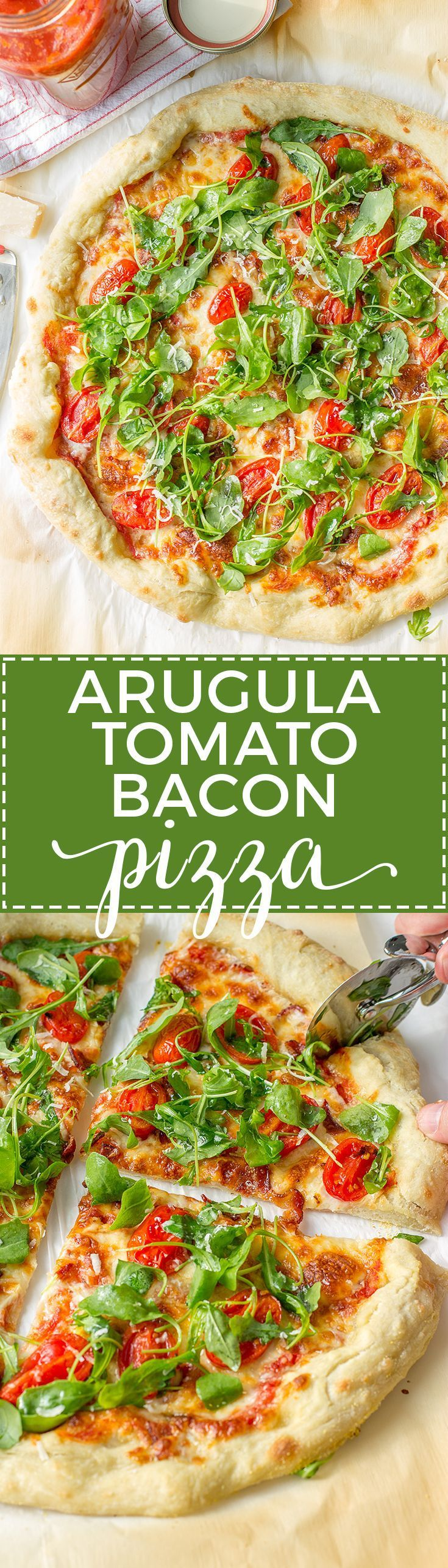 Arugula tomato bacon pizza delivers major flavor and is quick for a weeknight. www.nourish-and-fete.com via @nourishandfete