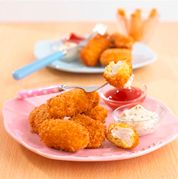 Marinating chicken in buttermilk gives chicken nuggets a delicious flavour and keeps it nice and tender.  Japanese honey panko breadcrumbs are particularly good for this. You can buy these in Japanese food shops or some large supermarkets. Otherwise use plain, dried breadcrumbs. Get your child to help whip up the dips for the chicken nuggets.