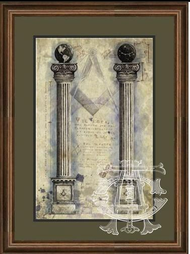 "Two Brazen Pillars"" - 11 x 17 Fine Art Print of Original Masonic Artwork"