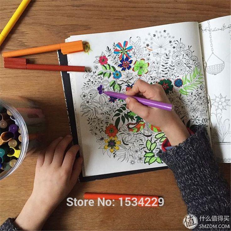 Электронная секретный сад в охота за сокровищами и книжка раскраска для детей взрослых снять стресс убийство срок граффити живопись рисунок купить на AliExpress