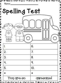 Back to School Spelling Test Templates!!!! FREEBIE!!!!  My Store is having a 20% OFF SALE Sept. 1-2!!!