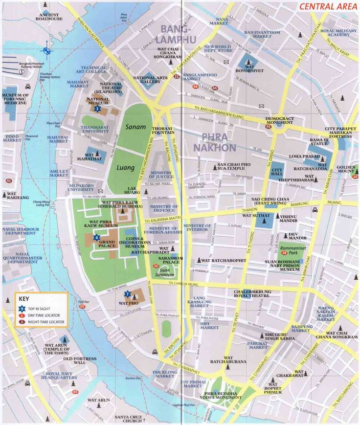 Bangkok map of historic (old) city with tourist attractions. - info about Thailand and Koh Samui: http://islandinfokohsamui.com/