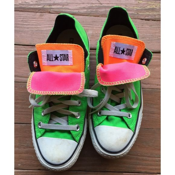 neon converse need cleaned & a little bit of fading on the back, but other than that in pretty good condition. Converse Shoes Sneakers