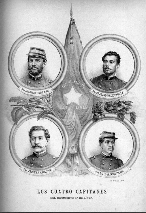 Capitanes Ricardo Serrano, Avelino Valenzuela, Tristán Chacón y Luis A. Riquelme