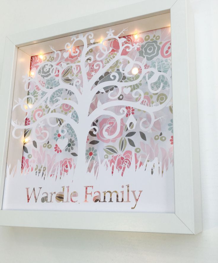 Paper Cut Family Tree Box Frame by RIVADesignsGifts on Etsy https://www.etsy.com/uk/listing/525516922/paper-cut-family-tree-box-frame