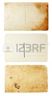 achterzijde bekijken van oude postkaarten Stockfoto