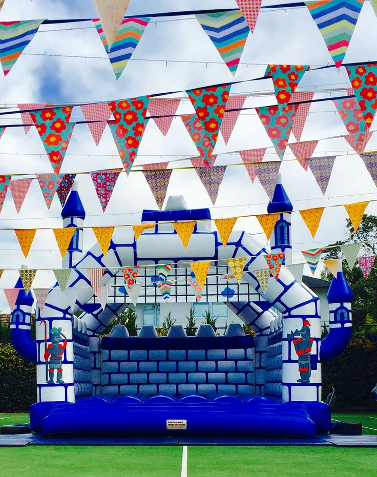 Adult jumping castle with hand made bunting