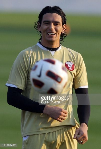 Qatar forward Sebarstien Soria smiles during a training session at the Aspire Academy for Sports Excellence in Doha on January 20 2011 AFP...
