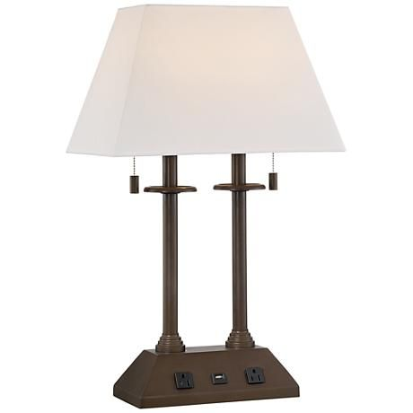 or bedside with this transitional lamp with usb port and dual outlets. Black Bedroom Furniture Sets. Home Design Ideas