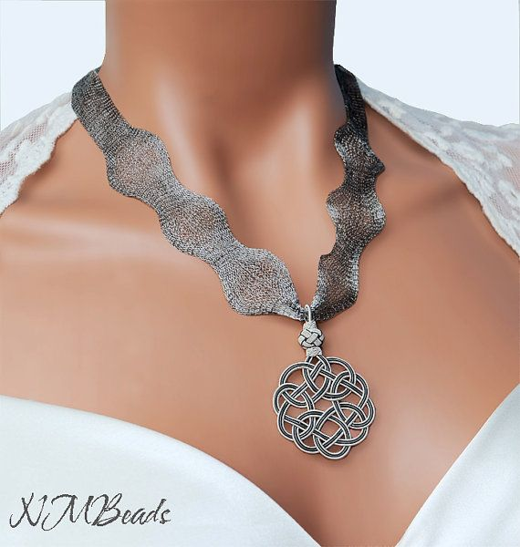 Pure Silver Love Knot Pendant Necklace  by NMBeadsJewelry