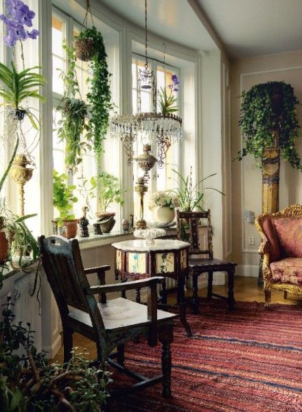 <3 this room! Chandelier, carpet, plants, settee. The Fabric of Sweet Repose: February 2012
