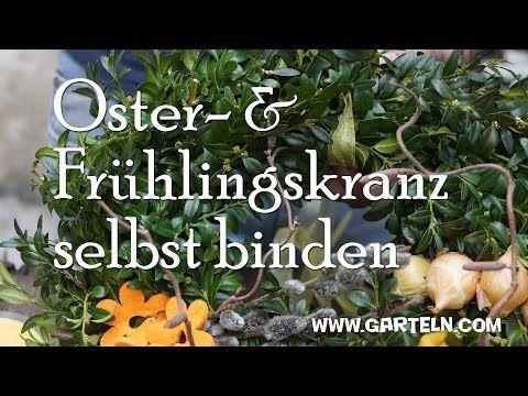 Osterkranz bzw. Frühlingskranz selbst binden - YouTube