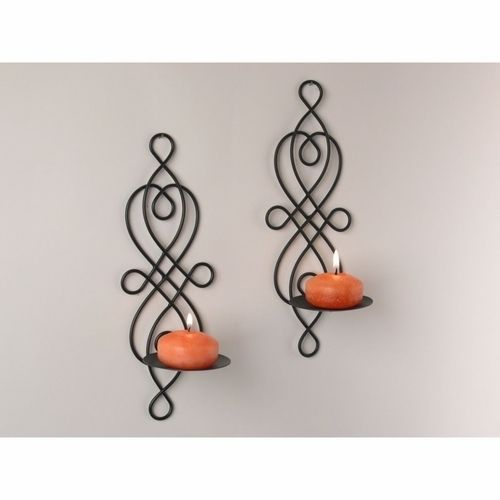 Black Scroll Wall Sconces : Candle Sconce Set 2 Pair Iron Wall Mount Holder Black Scroll Home Decor Ball #WallSconce ENTRY ...