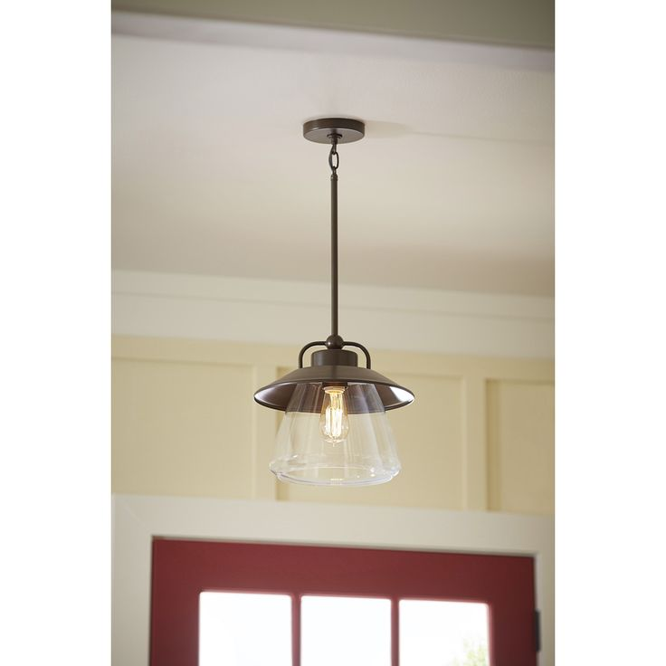 shop allen roth bristow 12 in w mission bronze pendant light with clear gla. Black Bedroom Furniture Sets. Home Design Ideas
