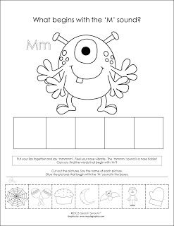 What begins with M? Monster!   October Means Monsters and Halloween Fun.  What begins with the M sound?    Here's a little cut and paste activity to work on practicing identification and isolation of initial sounds. This cute monster helps teach phonemic awareness of initial 'M'.Early phonological and phonemic awareness skills are so important for learning to read and spell. Young children need plenty of practice listening for initial sounds. This activity is no-prep for classroom or speech…
