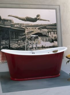 drummonds classic cast iron roll top usk bath in red dahlia a hotly - Red Bathroom 2015