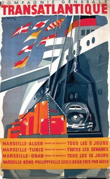 bateau - Compagnie Générale Transatlantique - 1947 - Marseille - Alger - Tunis - Oran -