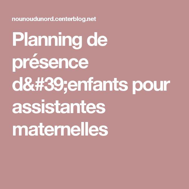 Planning de présence d'enfants pour assistantes maternelles