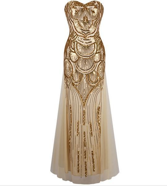 Champagne Gold Gatsby Inspired Art Deco Sequin 1920S Fashion Formal Gown Brides
