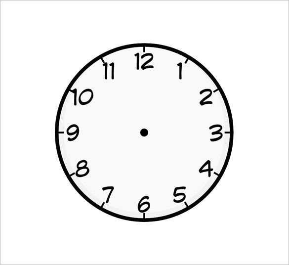 clock face templates for printing - 9 printable clock templates free word pdf format