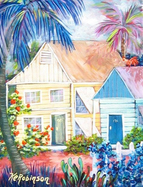 Key West House Paradise Tropical Flowers KeROBinson by KeROBinson