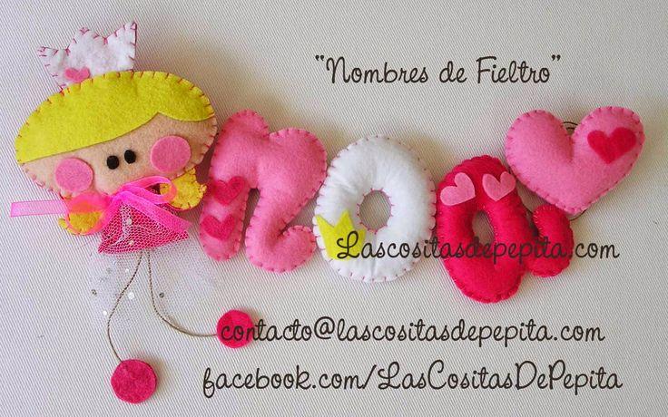 Las cositas de Pepita: Nombres Infantiles de Fieltro para la habitación d...
