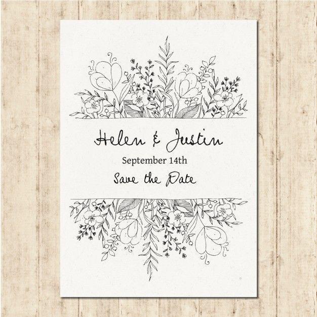 Hand gezeichnet Hochzeit Einladung Kostenlose Vekt…