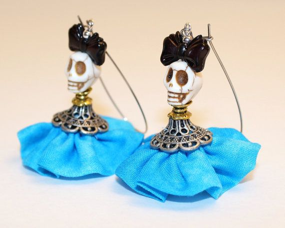 Day of the Dead Earrings Dia de los Muertos Frida Kahlo Doll Señorita Blue Dress…