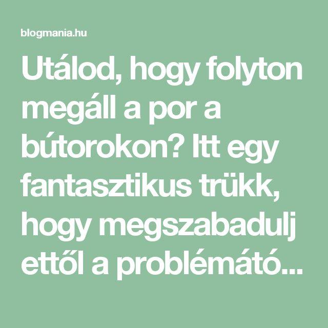 Utálod, hogy folyton megáll a por a bútorokon? Itt egy fantasztikus trükk, hogy megszabadulj ettől a problémától! – blogmania.hu